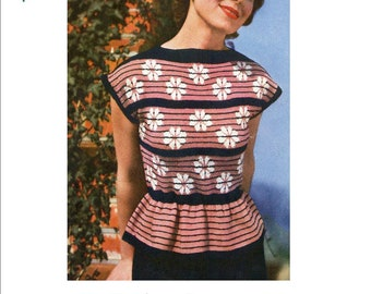 Pretty Peplum Sweater 1949  Ladies Vintage Knitting Pattern PDF Instant Download