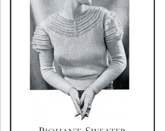 Piquant Sweater to Knit and Crochet ladies 1930s Vintage Pattern PDF Digital Download - from Pamoolah Vintage