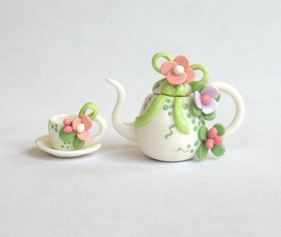 Miniature Green Bow Topped Floral Tea set - Tea for One - OOAK by C. Rohal