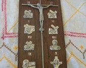 Pewter Crucifix on Wood Stations of the Cross