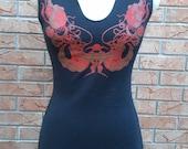 X-Small Red Art Nouveau Printed Black Kevlar Dress