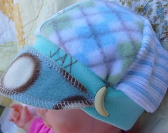 Beautiful Baby blue and brown sock monkeys Infant sized Jax Hat