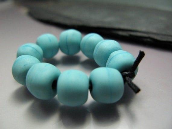 Handmade Lampwork Beads by GlassBeadArt ...  Matte Turquoise Rocks ... SRA F12 ...8x8mm
