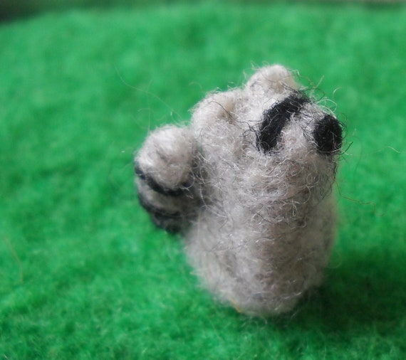Miniature Needle-Felted Raccoon