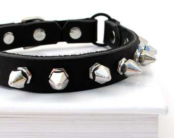 Leather Cat Collar Tough Kitty Little Spikes Eco-Friendly, Biker Style, Black Leather, Punk, OOAK