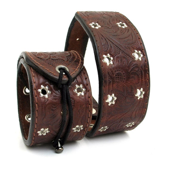 Tooled Leather Dog Collar and Matching Owner Cuff Wristband with Silver Stars, XS Dog, EcoFriendly, Adjustable, OOAK