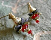 Gothic Flower Drop Earrings, Black, Blood Red & Cream, Dainty Floral Ear Drops, Brass Filigree, Faery Couture, Elksong Jewelry