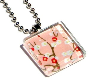 petite petals on blush- glass tile and Japanese chiyogami pendant necklace with gift tin