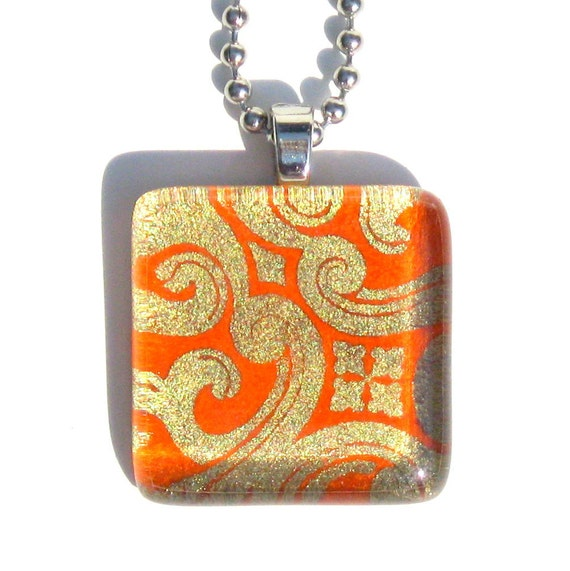 orange and gold arabesque- glass tile and Japanese chiyogami pendant necklace with gift tin