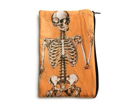Orange Anatomical Skeleton Makeup Bag