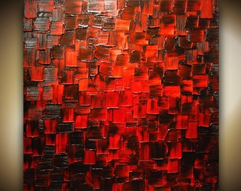 ORIGINAL large modern black red abstract painting fine art on canvas thick texture palette knife oil painting ready to hang 30x30 by susanna