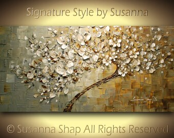 tree painting original large abstract contemporary white cherry blossom palette knife thick texture by susanna ready to hang 48x24