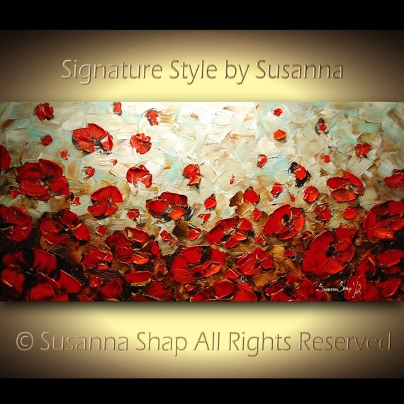 ORIGINAL Large Abstract Brown Blue Red Poppies Impasto Landscape Oil Painting by Susanna 48x24 Ready to Hang