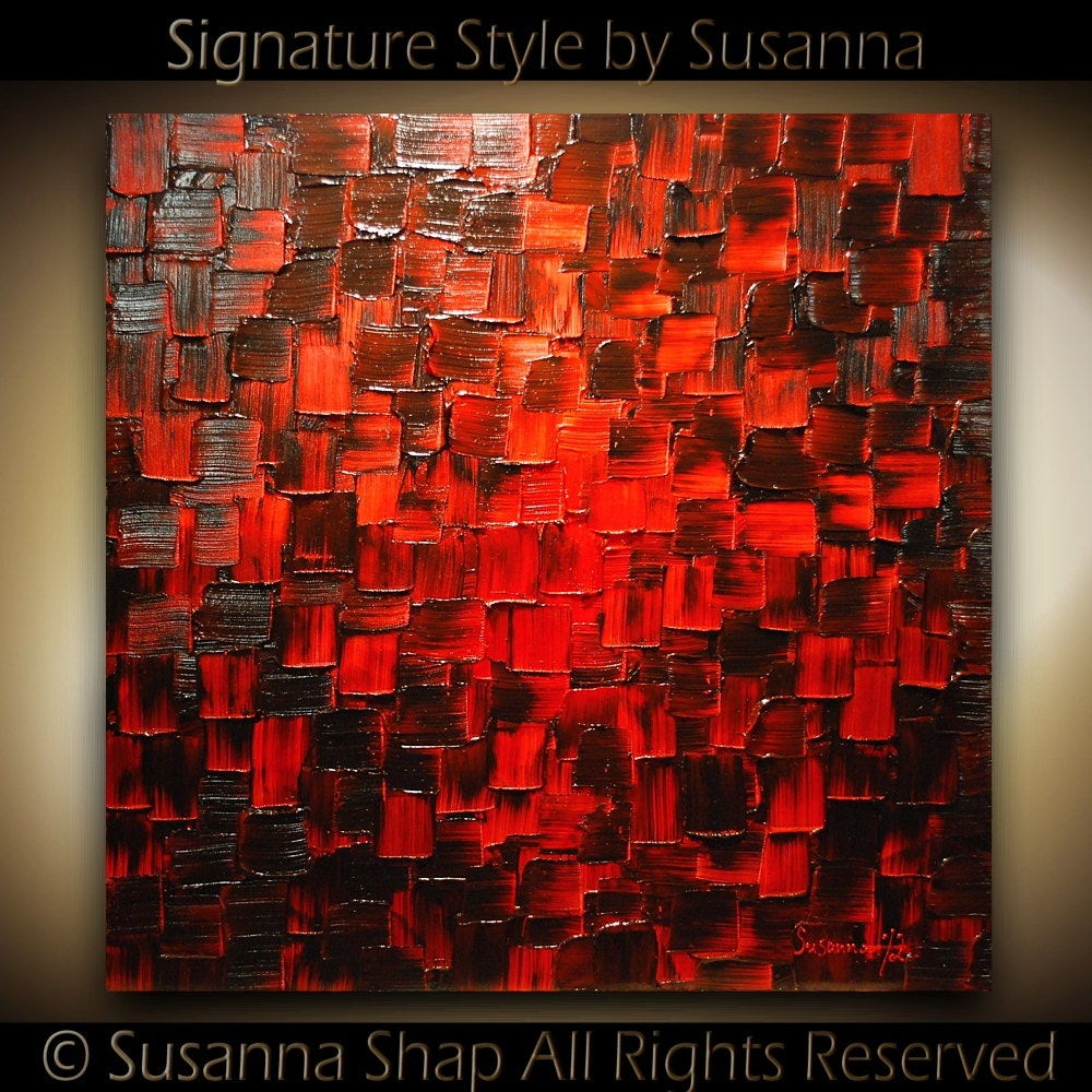 Original large modern black red abstract by modernhouseart for Abstract painting on black canvas