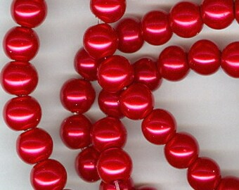 8mm Christmas Red Glass Pearl Round Beads