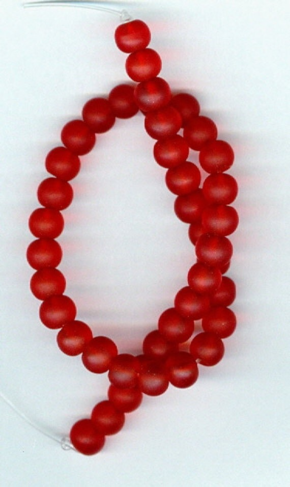 6x5mm Ruby Red Sea Glass Rondelle Beads Half Strand