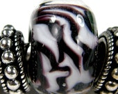 Glass Charm Black White Big Hole Lampwork Bead Handmade Zebra Stripe