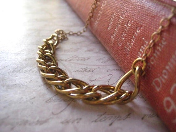 gold necklace, vintage double chain and 14K gold filled chain hand formed swirl clasp womens jewelry