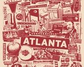 Atlanta Georgia City Silk Screen Collage Print Poster ATL MLK Falcons Braves Olympics Hip Hop - Etsy