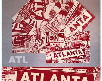 Atlanta Georgia 5 Postcard Mini Print Set City Silk Screen ATL MLK Falcons Braves Olympics Hip Hop - Etsy