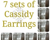 7 Sets of Cassidy Pearl Bridal Earrings, Seven Sets of Bridesmaids Pearl Earrings, Wedding Earrings, Bridal Earrings, Bridal Gifts