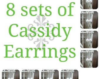 8 Sets of Cassidy Pearl Bridal Earrings, Eight Sets of Bridesmaids Pearl Earrings, Wedding Earrings, Bridal Earrings, Bridal Gifts