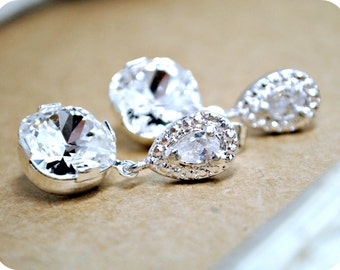 Rhinestone Bridal Earrings, Swarovski Rhinestone Earrings, Dangle Earrings, Square Rhinestone, Bridesmaids Earrings, Special Occasion