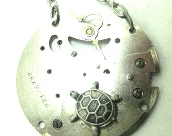 Turtle  , Steampunk Turtle, Steampunk Necklace, Steampunk Jewelry,  Turtle, One of a Kind
