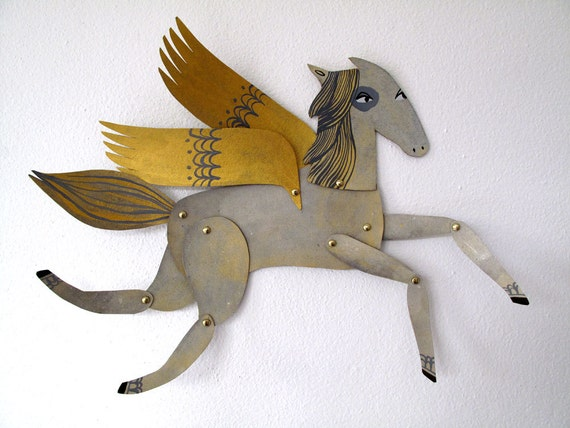 Ginger / Winged Grey and Gold Horse Articulated Decoration  / Hinged Beasts Series