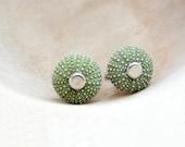 Sea Urchin Cufflinks - Green, Sea lover, Sailor, Captain Cuff links