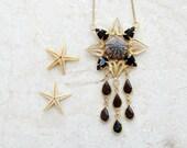 Sea Urchin Necklace Purple Gold Plated Vintage Telkari (Ooak)