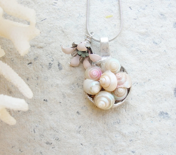 Blush of Love Necklace Pastel colored Shells, Enamel and Silver Plated Metal