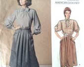 Vintage 80s Vogue American Designer Sewing Pattern Albert Nipon 34 Bust A Line Pleated Skirt and Loose Fitting Blouse With Bow