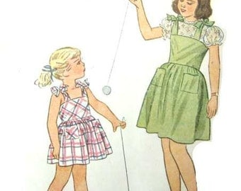 Vintage 40s Sewing Pattern  One Piece Jumper Dress and Blouse Puff Sleeves Back Buttons Full Skirt Simplicity 2029 Size 8 Girl Dress