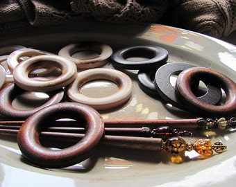 Wood Shawl Pin Rings