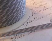 Petite Gray and White Diagonal Stripe 1/8 wide ribbon