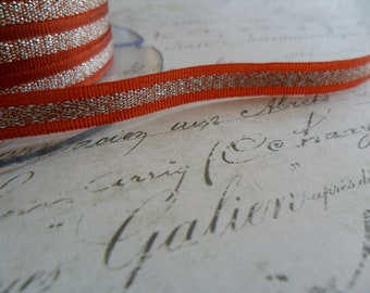 Harvest Spice and Metallic Silver Stripe Ribbon 1/4 wide