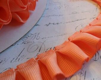 Mango peach Grosgrain Box Pleat  Ruffle 7/8 wide ribbon trim