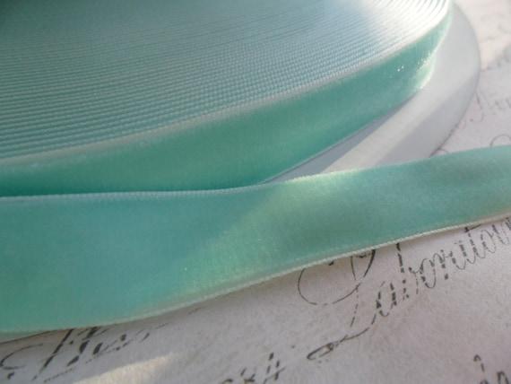 Vintage Style Aqua 5/8 Velvet Ribbon