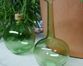 Small Long Neck Green Bottle Hand Blown and Created by Jenn Goodale