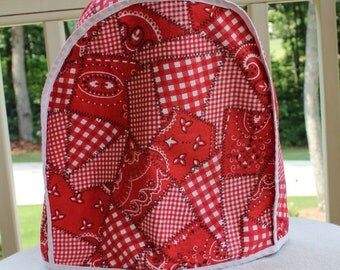 Vintage Kitchen Appliance Cover - Red White Gingham Bandana