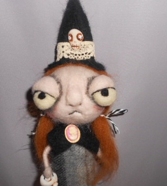 Wendy the Witch  Ooak needle felted art doll