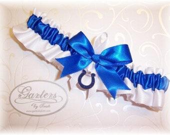 Handmade Wedding Garter with IIndianapolis Colts charm Toss Satin W-RRW