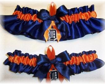 Detroit Tigers Wedding Garter Set with charms  Handmade  Keepsake and Toss   Satin NO