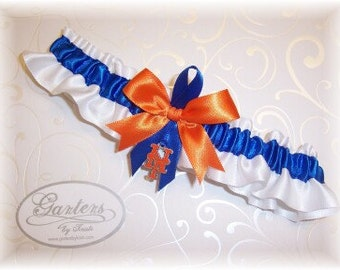 New York Mets Wedding Garter with New York Mets charm   Handmade  Toss Satin w-ror