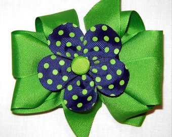 3 in One Hairbow in Apple and Navy