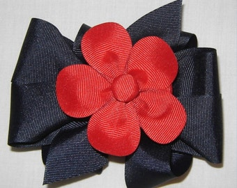 3 in One Hairbow in Navy and Red or Hot Pink