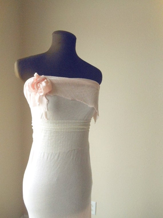 RESERVED FOR CRYSTALBEACH88 -Shabby Chic Wedding Dress Pale Rose Tattered Shell Pink Strapless Formal Gown Bridesmaid Summer