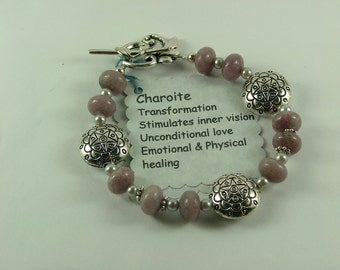 Charoite and silver Bracelet-B8