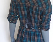 Plaid shirt dress with navy lace cut-out on back and vintage buttons.